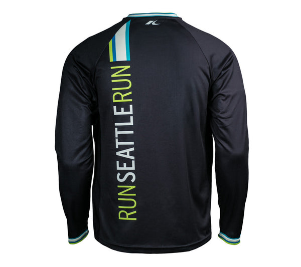Black with Blue & Green - Run Seattle Run - Men's Long Sleeve Shirt back