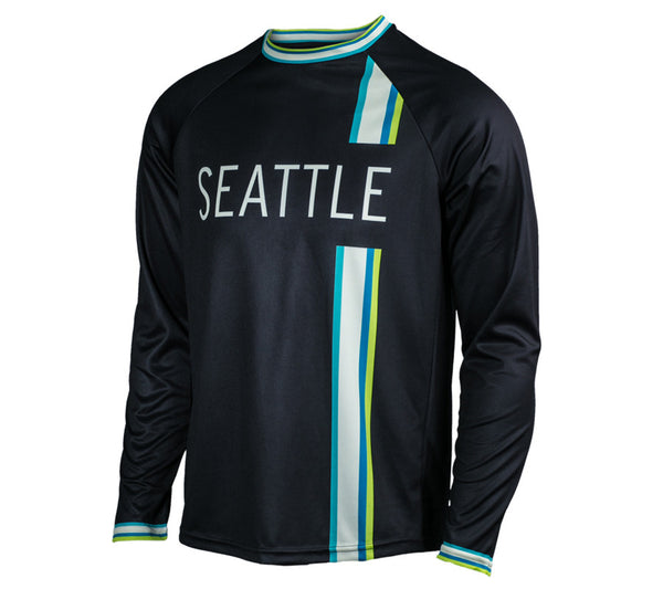Black with Blue & Green - Run Seattle Run - Men's Long Sleeve Shirt front