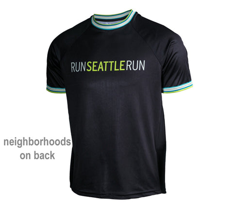 Black with Green - Run Seattle Run - Men's Short Sleeve Shirt front