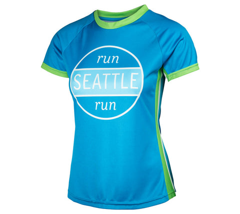 Blue RSR Circle - Run Seattle Run - Women's Short Sleeve Top front