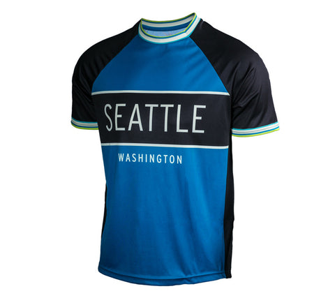 Blue with Black - Run Seattle Run - Men's Short Sleeve Shirt front