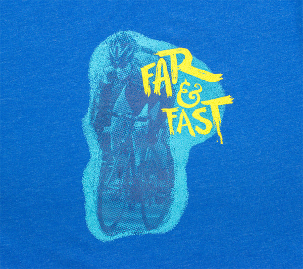 Cycle Far & Fast - Royal T - Men's Short Sleeve T-shirt - closeup