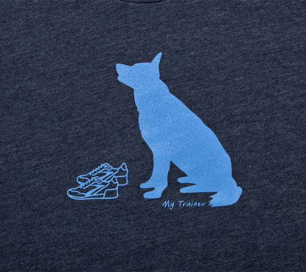 Dog Training Run Navy Blue Mens Short Sleeve T-shirt closeup