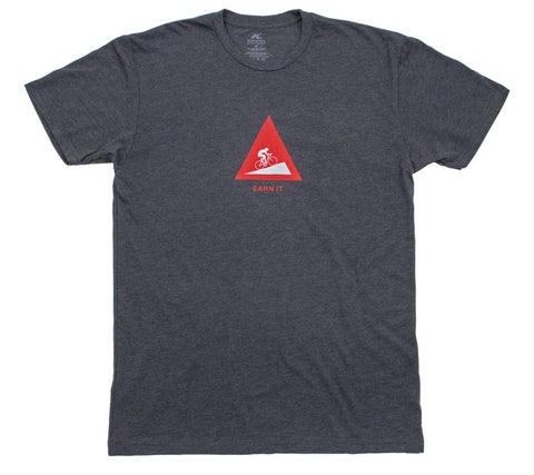 Earn It Hill Climb Cyclist - Charcoal T - Men's Short Sleeve T-shirt - front