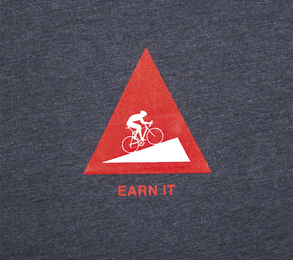 Earn It Hill Climb Cyclist Men Short Sleeve Tshirt closeup