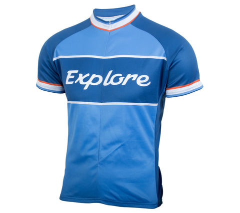 Explore Classic Racer Cycling Jersey - Men's Blue - front