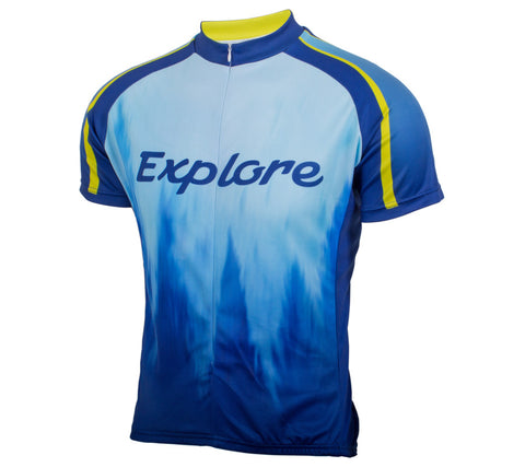 Explore Mountains and Trees Cycling Jersey - Men's Blue - front