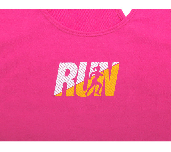 Fun Run - Raspberry Tank - Women's Terry Racerback Tank Closeup