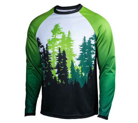 Green Trees, Ferry and Rainier - Run Seattle Run - Men's Long Sleeve Shirt frt