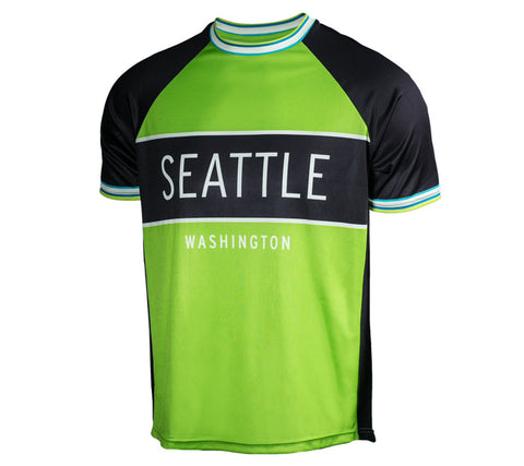 Green with Black - Run Seattle Run - Men's Short Sleeve Shirt front