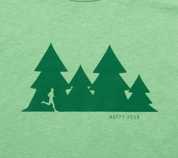 Happy Hour Trail Run - Light Green T - Men's Short Sleeve T-shirt closeup