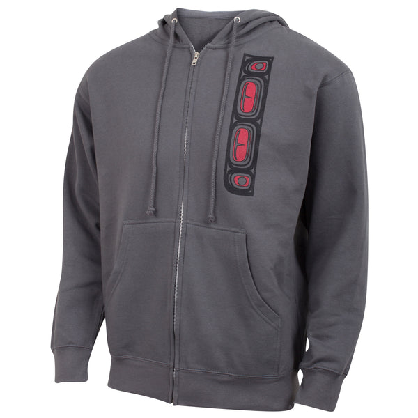 Native American Orca Whale Full Zip Hoodie Sweatshirt - Red and Black on Gray