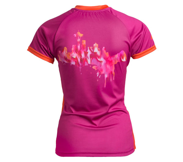 Magenta Space Needle with Seattle Skyline - Womens short sleeve top - back