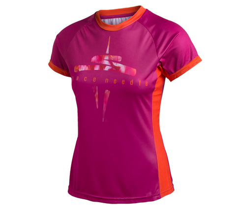 Magenta Space Needle with Seattle Skyline - Womens short sleeve top - front