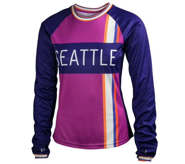 Magenta and Purple - Run Seattle Run - Women's Long Sleeve Top front