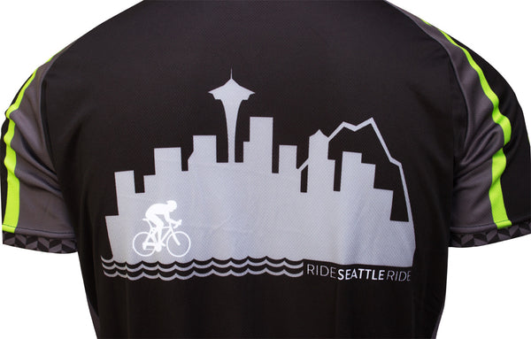 Mens-Black-Ride-Seattle-Skyline-Cycling Jersey-back-close