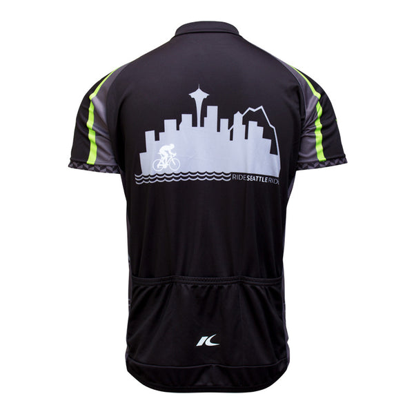 Mens-Black-Ride-Seattle-Skyline-Cycling Jersey-back