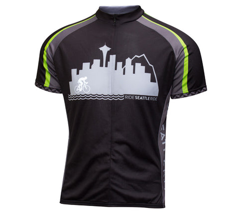 Mens-Black-Ride-Seattle-Skyline-Cycling Jersey-front