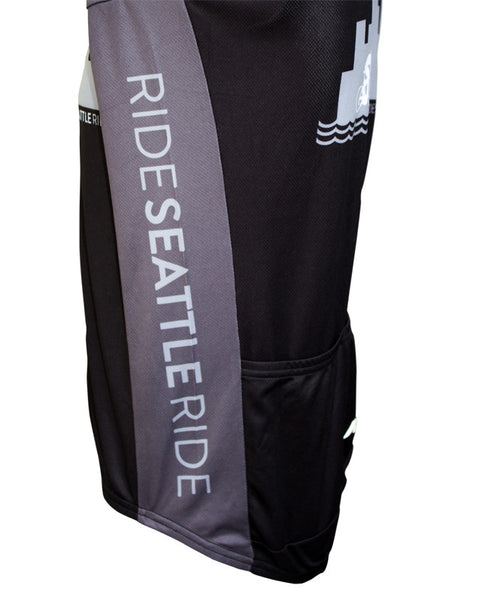 Mens-Black-Ride-Seattle-Skyline-Cycling Jersey-side