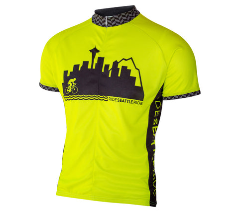 Mens-Seattle-Skyline-Cycling Jersey-Hi-Vis-Yellow-front