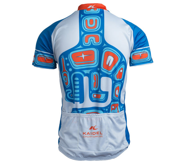 Native American Orca Whale Cycling Jersey - Mens Blue and Orange back