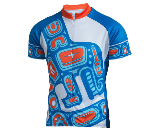 Native American Orca Whale Cycling Jersey - Mens Blue and Orange front