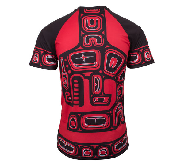 Native American Red and Black Orca Trail Running - Men's Short Sleeve Tech Shirt back