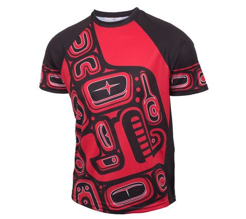 Native American Red and Black Orca Trail Running - Men's Short Sleeve Tech Shirt front