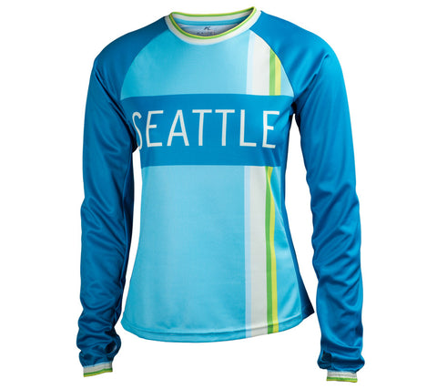 Ocean Blue - Run Seattle Run - Women's Long Sleeve Top front