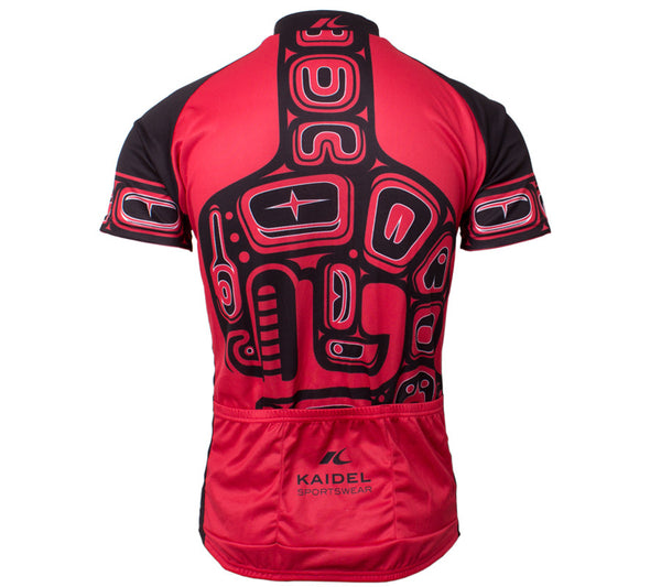 Native American Orca Whale Cycling Jersey - Men Red and Black back