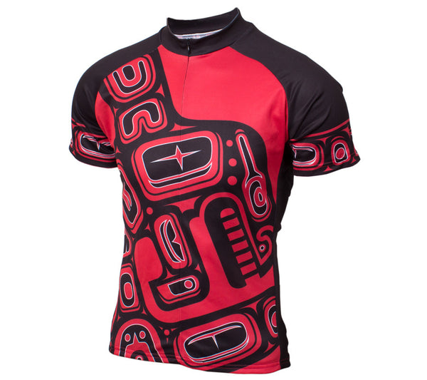 Native American Orca Whale Cycling Jersey - Men Red and Black front