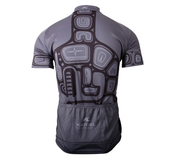 Orca Whale Cycling Jersey Mens Gray and Black back