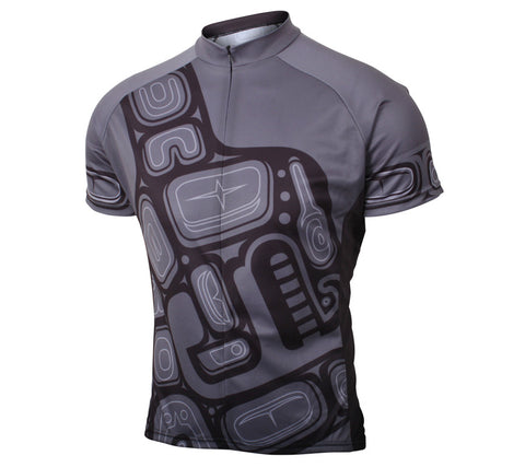 Orca Whale Cycling Jersey Mens Gray and Black front