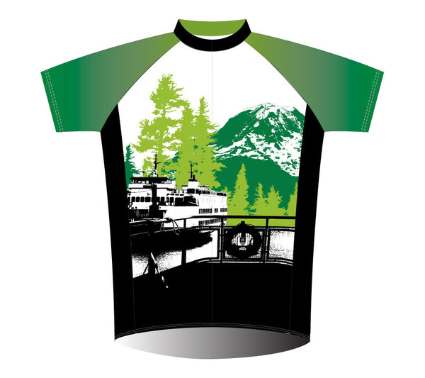 Pacific Northwest Cycling Jersey – Mt. Rainier and Ferry –  Green - front art
