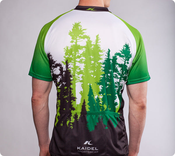 Pacific Northwest Cycling Jersey – Mt. Rainier and Ferry – Men's Green - back