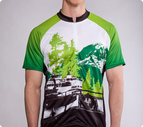 Pacific Northwest Cycling Jersey – Mt. Rainier and Ferry – Men's Green - front