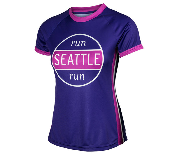 Purple RSR Circle - Run Seattle Run - Women's Short Sleeve Top front