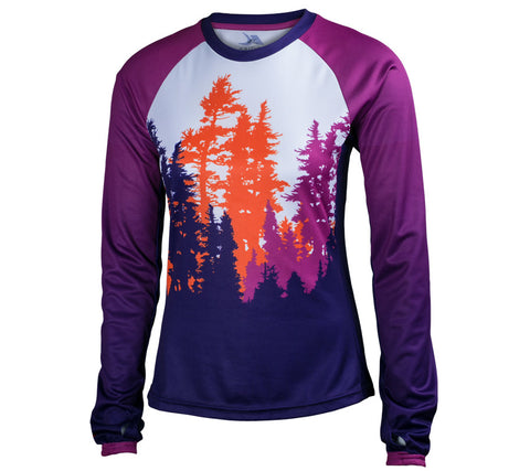 Purple Trees, Ferry and Rainier - Run Seattle Run - Women's Long Sleeve Top ft