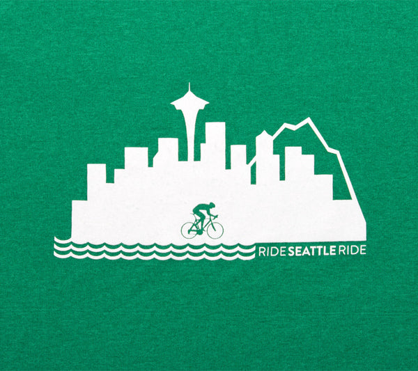 Ride Seattle Ride Skyline - Green -  Men's Short Sleeve Tech Shirt - closeup