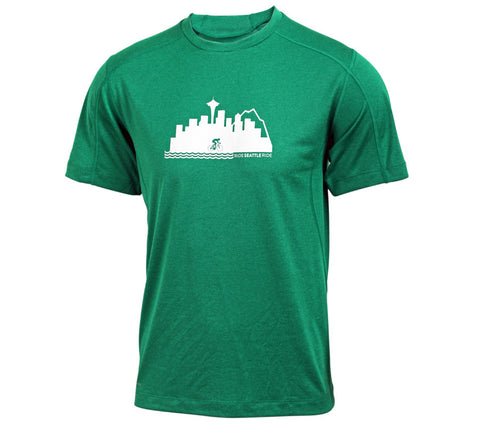 Ride Seattle Ride Skyline - Green -  Men's Short Sleeve Tech Shirt - front