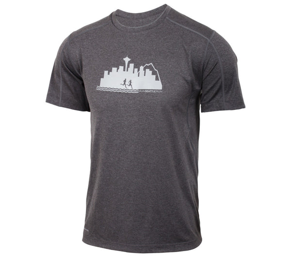 Run Seattle Run Skyline - Gray - Men's Short Sleeve Tech Shirt front