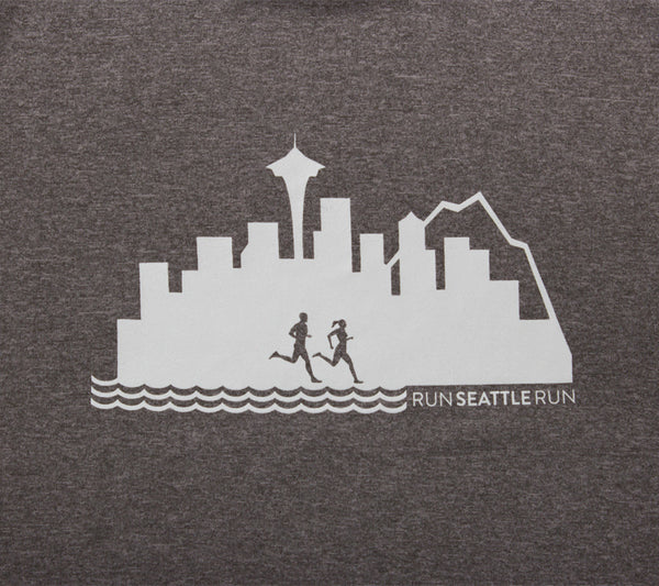 Run Seattle Run Skyline - Gray - Men's Short Sleeve Tech Shirt closeup