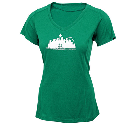 Run Seattle Run Skyline - Green - Women's Short Sleeve Tech Top front