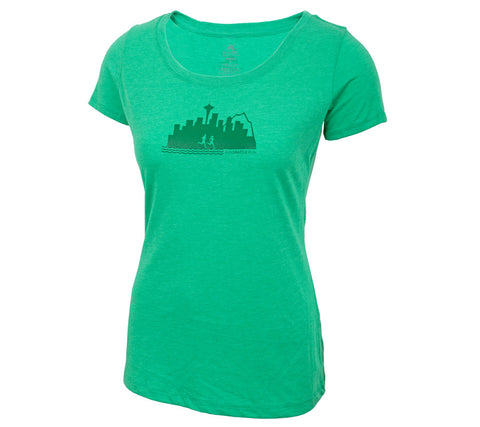 Run Seattle Run Skyline - Green T - Women's Triblend Scoop Short Sleeve T-shirt front