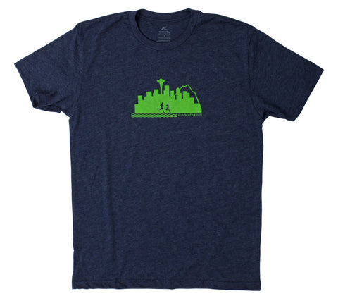 Run Seattle Run Skyline - Navy Blue T  - Men's Short Sleeve T-shirt front