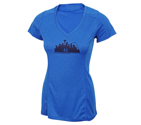 Run Seattle Run Skyline - Royal Blue - Women's Short Sleeve Tech Top front