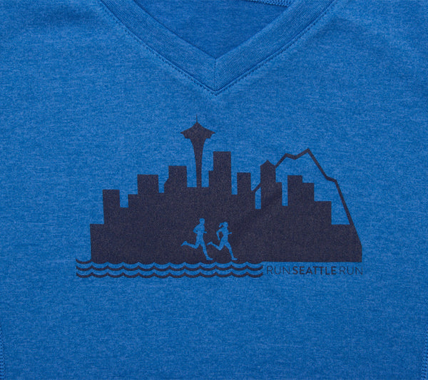 Run Seattle Run Skyline - Royal Blue - Women's Short Sleeve Tech Top closeup