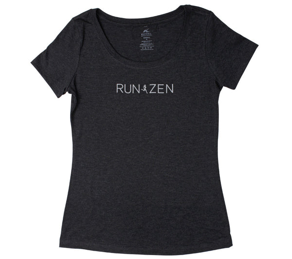 Run Zen - Black T - Women's Triblend Scoop Short Sleeve T-shirt front