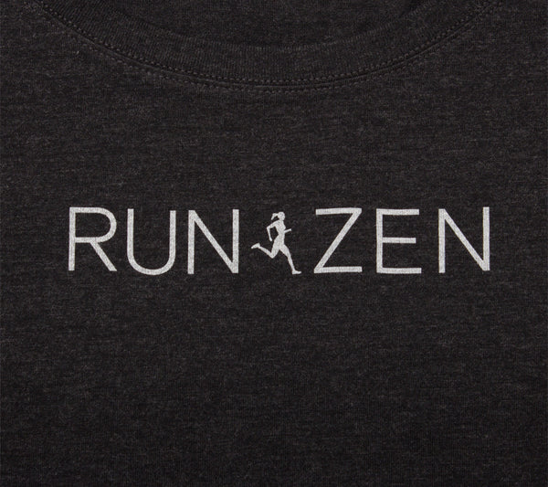 Run Zen - Black T - Women's Triblend Scoop Short Sleeve T-shirt closeup