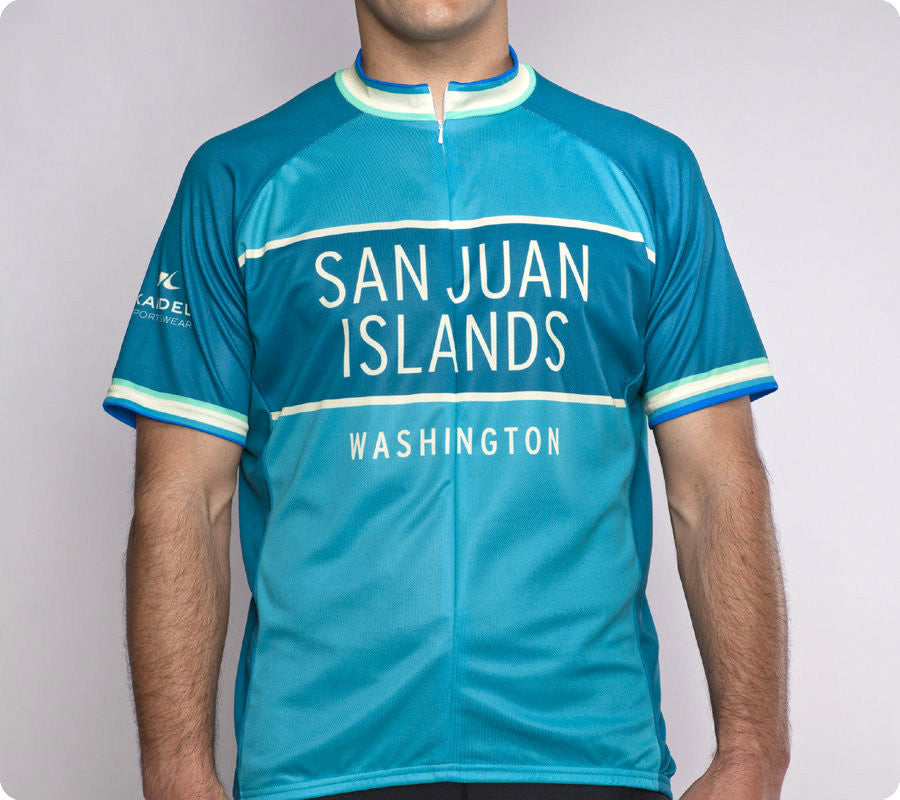 3aec0ae77 San Juan Islands Classic Racer Cycling Jersey Mens Blue front